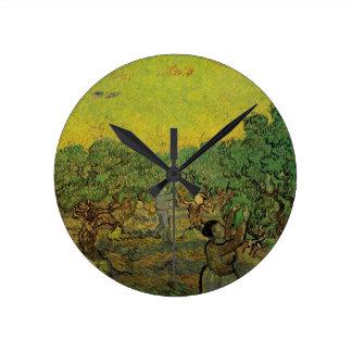 La cosecha de la arboleda verde oliva w de Van Relojes De Pared