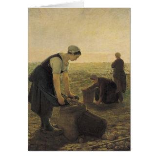 La cosecha de la patata tarjetas