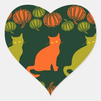 La cosecha del gato pegatina en forma de corazón