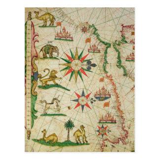 La costa africana del norte, de un atlas náutico tarjeta postal