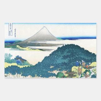 La costa de siete leages en Kamakura Hokusai Pegatina Rectangular