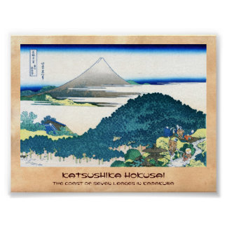 La costa de siete leages en Kamakura Hokusai Póster