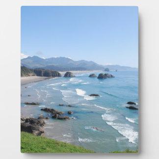 La costa hermosa de Oregon del parque de Ecola Placa Para Mostrar