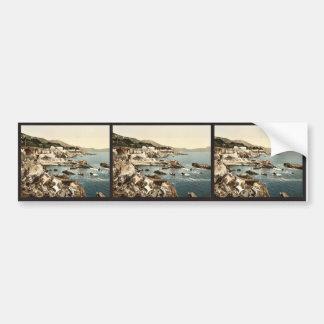 La costa, Nervi, vintage Photochrom de Génova, Ita Pegatina De Parachoque