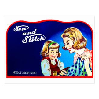 La costura retra del kitsch del vintage cosen y postales