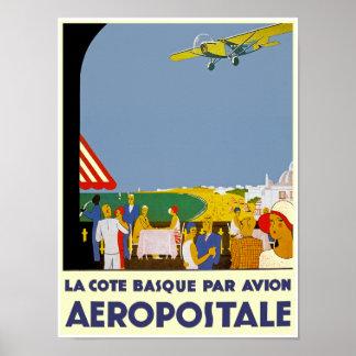 La Cote Basque Par Avion Poster