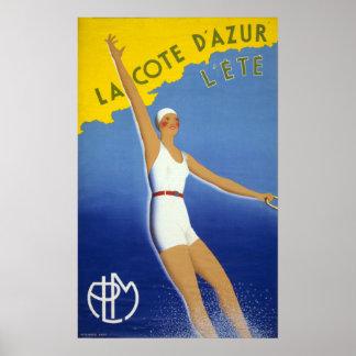 La Cote d'Azur l'ete Vintage Poster Restored