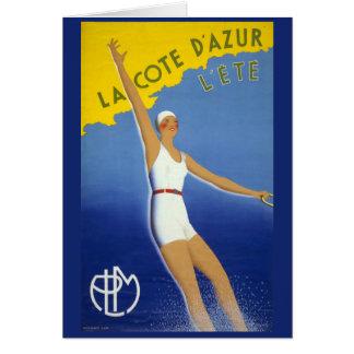 La Cote d'Azur l'ete Vintage Poster Restored Card