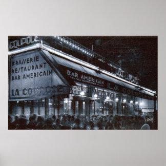 La Coupole, Paris at Night Vintage Poster
