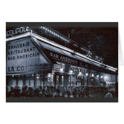 La Coupole, París en el vintage de la noche Tarjeta De Felicitación