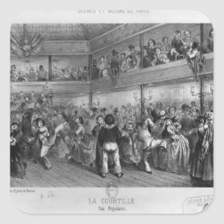 La Courtille, popular dance, engraved by Yves Square Sticker