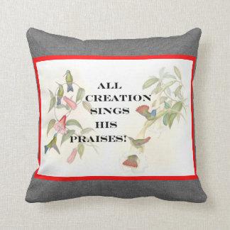 ¡La creación de los colibríes canta! Almohada