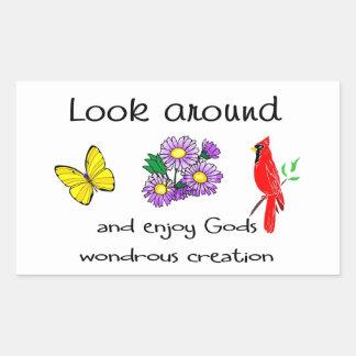 La creación maravillosa de dios pegatina rectangular
