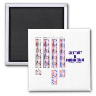 La creatividad es combinatoria (las permutaciones) imán cuadrado