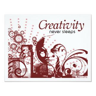 """La creatividad nunca duerme invitación 4.25"""" x 5.5"""""""