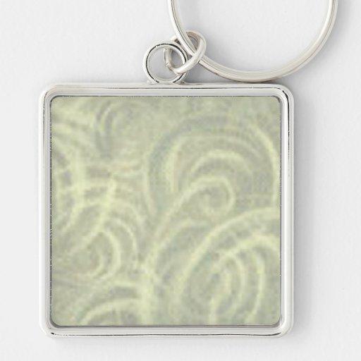 La crema remolina en verde llavero cuadrado plateado