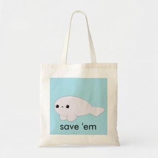 """La cría de foca de Kawaii """"los ahorra"""" tote Bolsas"""