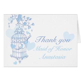 La criada azul del boda del pájaro del honor le tarjeta pequeña