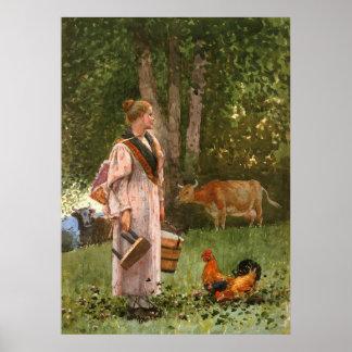 La criada de la leche, por Winslow Homer Póster