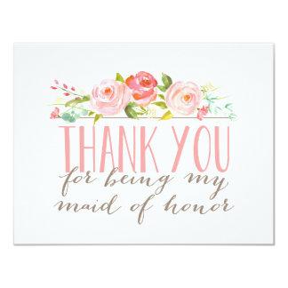 """La criada del honor floral le agradece invitación 4.25"""" x 5.5"""""""
