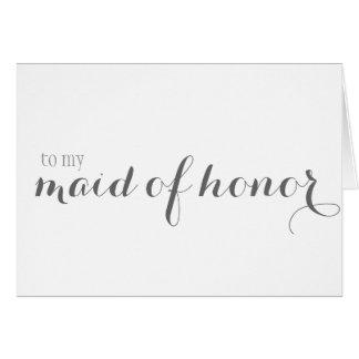La criada del honor le agradece tarjeta pequeña