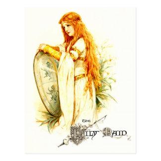 La criada del lirio con el escudo de Lancelot Tarjeta Postal