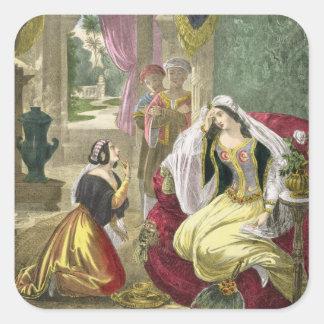 La criada hebrea prisionera que esperó en los Wi d Calcomanía Cuadradase