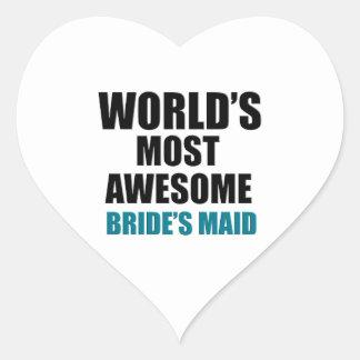 La criada más deseada de la novia del mundo pegatina en forma de corazón