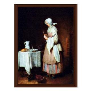 La criada que cuida de Chardin Jean-Baptiste Siméo Tarjetas Postales