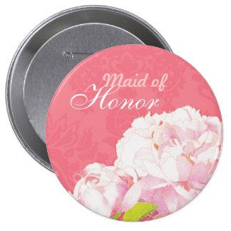 La criada rosada del boda del Peony del honor Pin Redondo De 4 Pulgadas