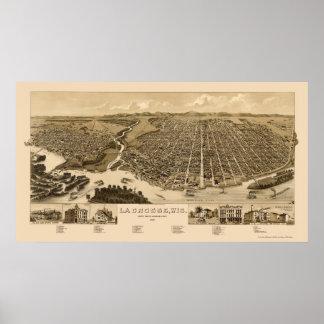 La Crosse, mapa panorámico -1887 de los WI Poster