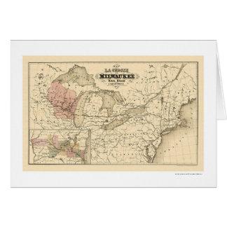 La Crosse & Milwaukee Railroad Map 1855 Greeting Card