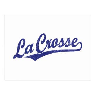 La Crosse script logo in blue distressed Postcard