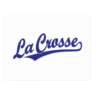 La Crosse script logo in blue Postcard