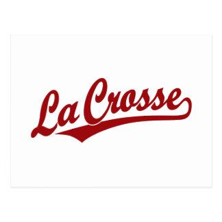 La Crosse script logo in red Postcard
