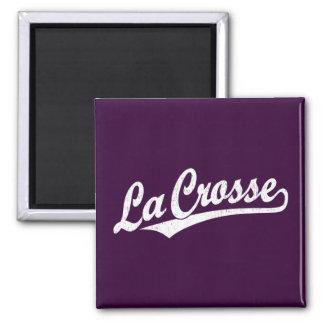 La Crosse script logo in white distressed 2 Inch Square Magnet
