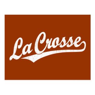La Crosse script logo in white distressed Postcard