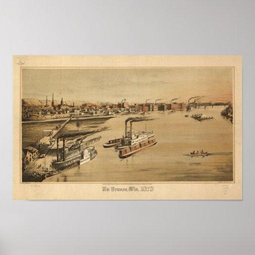 La Crosse WI 1873 Antique Panoramic Map Poster