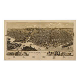 La Crosse WI 1887 Antique Panoramic Map Poster