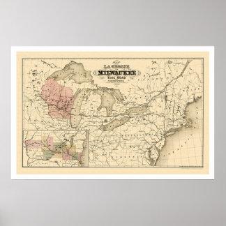La Crosse y mapa 1855 del ferrocarril de Milwaukee Impresiones