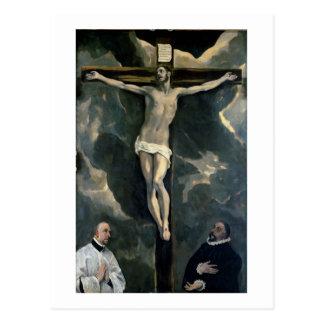 La crucifixión con dos donantes c 1580 aceite en postal