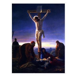La crucifixión de Jesús. Postales de la bella arte