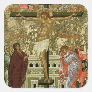 La crucifixión de nuestro señor pegatina cuadrada