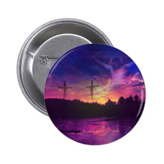 La crucifixión del Jesucristo en la cruz Pin Redondo 5 Cm