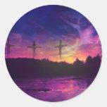 La crucifixión del Jesucristo Etiqueta Redonda