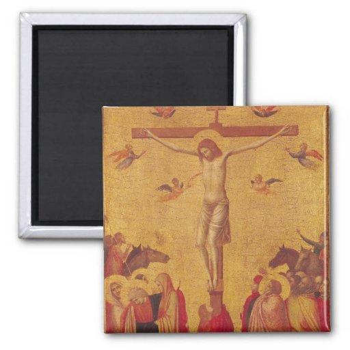 La crucifixión (tempera en el panel) imán para frigorifico