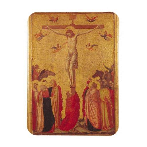 La crucifixión (tempera en el panel) imanes