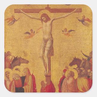 La crucifixión (tempera en el panel) pegatina cuadrada