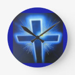 La cruz azul retroiluminada relojes de pared