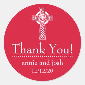 La cruz céltica le agradece las etiquetas pegatina redonda
